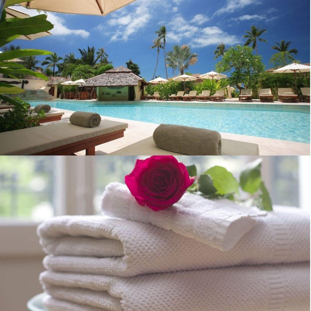 Hotel pool, towels