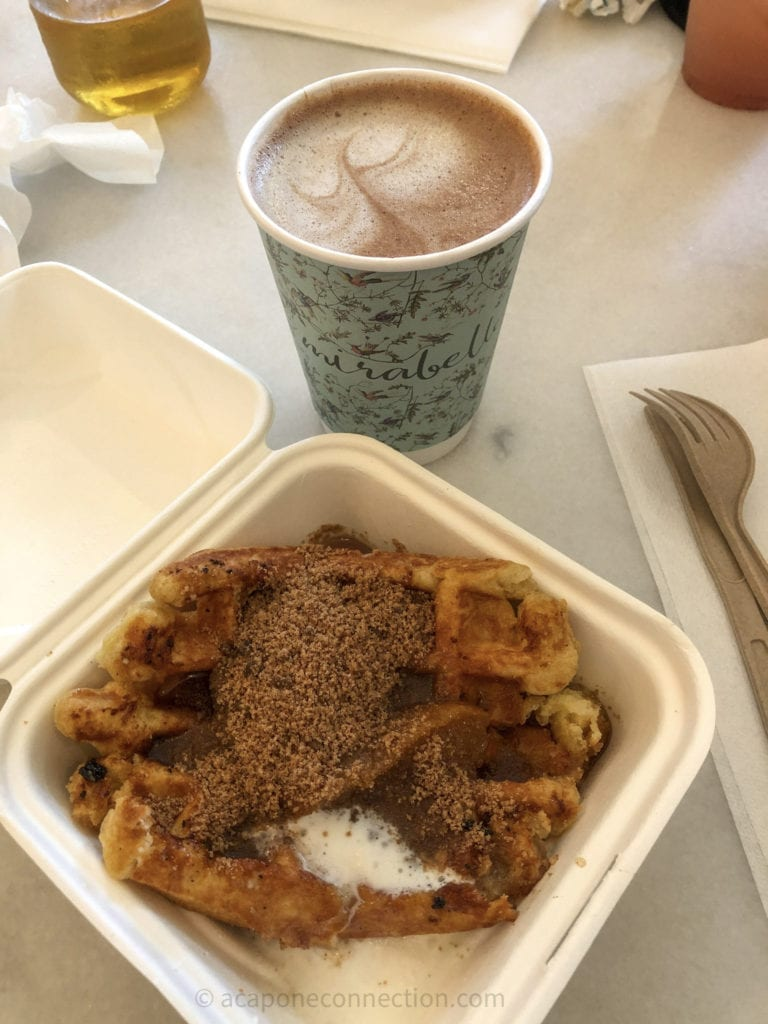 Peach Waffle and Coffee from Mirabelle's