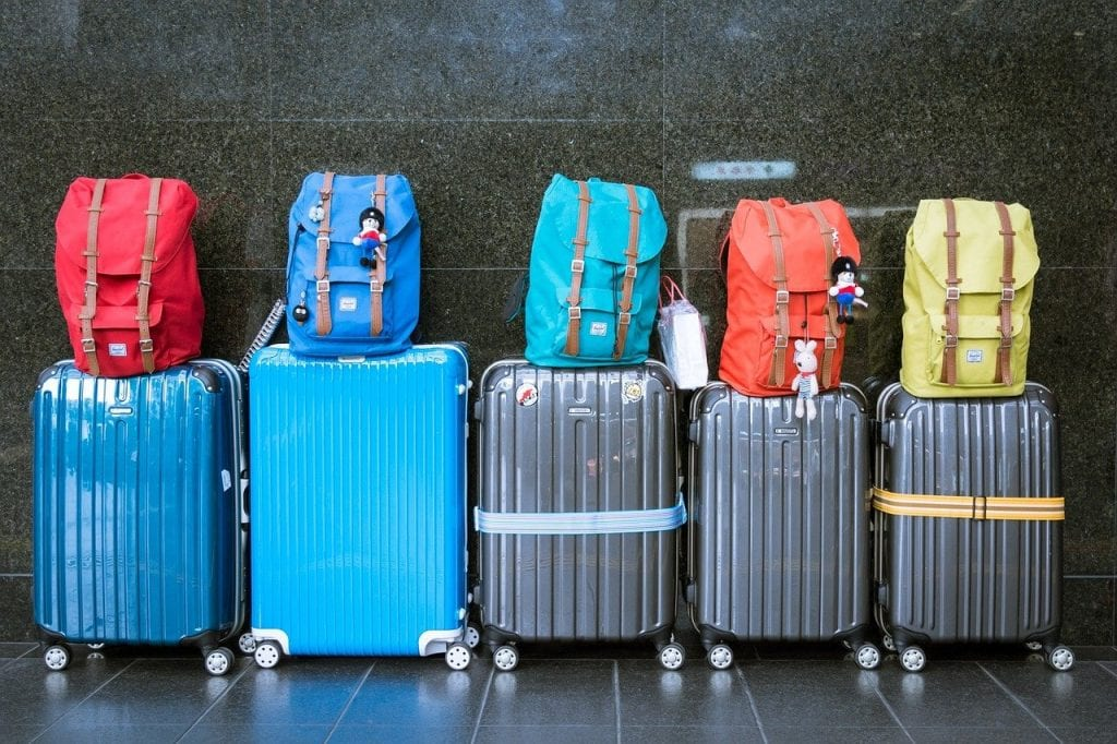 Row of Packed Suitcases
